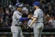Apr 17, 2014; Houston, TX, USA; Kansas City Royals catcher Salvador Perez (13) congratulates relief pitcher Wade Davis (17) after defeating the Houston Astros 5-1at Minute Maid Park. Mandatory Credit: Troy Taormina-USA TODAY Sports