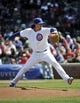 Apr 18, 2014; Chicago, IL, USA;  Chicago Cubs starting pitcher Jeff Samardzija (29) pitches against the Cincinnati Reds during the first inning at Wrigley Field. Mandatory Credit: David Banks-USA TODAY Sports