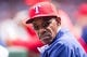 Apr 13, 2014; Arlington, TX, USA; Texas Rangers manager Ron Washington (38) during the game against the Houston Astros at Globe Life Park in Arlington. The Rangers defeated the Astros 1-0. Mandatory Credit: Jerome Miron-USA TODAY Sports