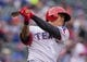 Apr 13, 2014; Arlington, TX, USA; Texas Rangers left fielder Shin-Soo Choo (17) during the game against the Houston Astros at Globe Life Park in Arlington. The Rangers defeated the Astros 1-0. Mandatory Credit: Jerome Miron-USA TODAY Sports