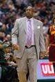 Apr 11, 2014; Milwaukee, WI, USA; Cleveland Cavaliers head coach Mike Brown during the game against the Milwaukee Bucks at BMO Harris Bradley Center.  Milwaukee won 119-116.  Mandatory Credit: Jeff Hanisch-USA TODAY Sports