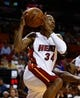 Apr 16, 2014; Miami, FL, USA;  Miami Heat guard Ray Allen (34) drives to the basket in the second half of a game against the Philadelphia 76ers at American Airlines Arena. The 76ers won 100-87. Mandatory Credit: Robert Mayer-USA TODAY Sports