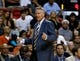 Apr 16, 2014; Miami, FL, USA; Philadelphia 76ers head coach Brett Brown in the first half of a game aginst the Miami Heat at American Airlines Arena. Mandatory Credit: Robert Mayer-USA TODAY Sports