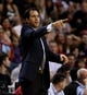 Apr 16, 2014; Miami, FL, USA; Miami Heat head coach Erik Spoelstra in the first half of a game against the Philadelphia 76ers at American Airlines Arena. Mandatory Credit: Robert Mayer-USA TODAY Sports