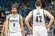 Apr 16, 2014; Minneapolis, MN, USA; Minnesota Timberwolves guard Ricky Rubio (9) and forward Kevin Love (42) at Target Center. Mandatory Credit: Brad Rempel-USA TODAY Sports