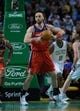 Apr 16, 2014; Boston, MA, USA; Washington Wizards center Marcin Gortat (4) looks to pass the ball during the second half against the Boston Celtics at TD Garden. Mandatory Credit: Bob DeChiara-USA TODAY Sports