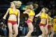 Apr 9, 2014; Cleveland, OH, USA; The Cleveland Cavaliers girls dance during a game between the Cleveland Cavaliers and the Detroit Pistons at Quicken Loans Arena. Cleveland won 122-100. Mandatory Credit: David Richard-USA TODAY Sports