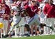 Apr 19, 2014; Tuscaloosa, AL, USA;  Alabama Crimson Tide wide receiver ArDarius Stewart (13) is pushed out of bounds by Alabama Crimson Tide defensive back Nick Perry (27) during the A-Day game  at Bryant-Denny Stadium. Mandatory Credit: Marvin Gentry-USA TODAY Sports