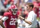 Apr 19, 2014; Tuscaloosa, AL, USA;  Alabama Crimson Tide offensive coordinator/quarterbacks coach Lane Kiffin talks to wide receiver Christion Jones (22) prior to the A-Day game at Bryant-Denny Stadium. Mandatory Credit: Marvin Gentry-USA TODAY Sports