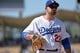 Apr 20, 2014; Los Angeles, CA, USA: Los Angeles Dodgers first baseman Adrian Gonzalez (23) looks on during the Dodgers 4-1 win over the Arizona Diamondbacks at Dodger Stadium. Mandatory Credit: Robert Hanashiro-USA TODAY Sports