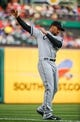 Apr 19, 2014; Arlington, TX, USA; Chicago White Sox second baseman Marcus Semien (5) stretches before the game against the Texas Rangers at Globe Life Park in Arlington. Texas won 6-3. Mandatory Credit: Kevin Jairaj-USA TODAY Sports