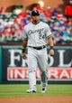 Apr 19, 2014; Arlington, TX, USA; Chicago White Sox right fielder Dayan Viciedo (24) before the game against the Texas Rangers at Globe Life Park in Arlington. Texas won 6-3. Mandatory Credit: Kevin Jairaj-USA TODAY Sports