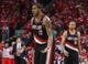 Apr 20, 2014; Houston, TX, USA; Portland Trail Blazers forward LaMarcus Aldridge (12) reacts after a foul call during overtime against the Houston Rockets in game one during the first round of the 2014 NBA Playoffs at Toyota Center. Mandatory Credit: Troy Taormina-USA TODAY Sports