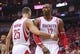 Apr 20, 2014; Houston, TX, USA; Houston Rockets forward Chandler Parsons (25) and center Dwight Howard (12) react after a call during the second quarter against the Portland Trail Blazers in game one during the first round of the 2014 NBA Playoffs at Toyota Center. Mandatory Credit: Troy Taormina-USA TODAY Sports