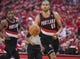 Apr 20, 2014; Houston, TX, USA; Portland Trail Blazers forward Nicolas Batum (88) controls the ball during the first quarter against the Houston Rockets in game one during the first round of the 2014 NBA Playoffs at Toyota Center. Mandatory Credit: Troy Taormina-USA TODAY Sports