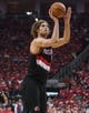 Apr 20, 2014; Houston, TX, USA; Portland Trail Blazers center Robin Lopez (42) shoots during the second quarter against the Houston Rockets in game one during the first round of the 2014 NBA Playoffs at Toyota Center. Mandatory Credit: Troy Taormina-USA TODAY Sports