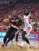 Apr 20, 2014; Houston, TX, USA; Portland Trail Blazers guard Wesley Matthews (2) drives to the basket during the first quarter as Houston Rockets guard James Harden (13) defends in game one during the first round of the 2014 NBA Playoffs at Toyota Center. Mandatory Credit: Troy Taormina-USA TODAY Sports