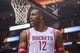 Apr 20, 2014; Houston, TX, USA; Houston Rockets center Dwight Howard (12) reacts after a call during the second quarter against the Portland Trail Blazers in game one during the first round of the 2014 NBA Playoffs at Toyota Center. Mandatory Credit: Troy Taormina-USA TODAY Sports