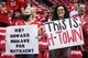 Apr 20, 2014; Houston, TX, USA; Houston Rockets fans hold signs before game one against the Portland Trail Blazers during the first round of the 2014 NBA Playoffs at Toyota Center. Mandatory Credit: Troy Taormina-USA TODAY Sports