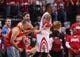 Apr 20, 2014; Houston, TX, USA; Houston Rockets center Dwight Howard (12) and fans react after a play during the third quarter against the Portland Trail Blazers in game one during the first round of the 2014 NBA Playoffs at Toyota Center. Mandatory Credit: Troy Taormina-USA TODAY Sports