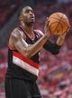 Apr 20, 2014; Houston, TX, USA; Portland Trail Blazers guard Wesley Matthews (2) attempts a free throw during the first quarter against the Houston Rockets  in game one during the first round of the 2014 NBA Playoffs at Toyota Center. Mandatory Credit: Troy Taormina-USA TODAY Sports