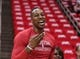 Apr 20, 2014; Houston, TX, USA; Houston Rockets center Dwight Howard (12) smiles before game one against the Portland Trail Blazers during the first round of the 2014 NBA Playoffs at Toyota Center. Mandatory Credit: Troy Taormina-USA TODAY Sports