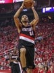 Apr 20, 2014; Houston, TX, USA; Portland Trail Blazers forward Nicolas Batum (88) drives to the basket during the first quarter against the Houston Rockets in game one during the first round of the 2014 NBA Playoffs at Toyota Center. Mandatory Credit: Troy Taormina-USA TODAY Sports