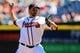 Apr 23, 2014; Atlanta, GA, USA; Atlanta Braves starting pitcher Aaron Harang (34) pitches in the third inning against the Miami Marlins at Turner Field. Mandatory Credit: Daniel Shirey-USA TODAY Sports
