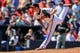 Apr 23, 2014; Atlanta, GA, USA; Atlanta Braves relief pitcher Craig Kimbrel (46) pitches in the ninth inning against the Miami Marlins at Turner Field. The Braves won 3-1. Mandatory Credit: Daniel Shirey-USA TODAY Sports