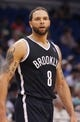Apr 9, 2014; Orlando, FL, USA; Brooklyn Nets guard Deron Williams (8) against the Orlando Magic during the second half at Amway Center. Orlando Magic defeated the Brooklyn Nets 115-111. Mandatory Credit: Kim Klement-USA TODAY Sports