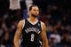 Apr 9, 2014; Orlando, FL, USA; Brooklyn Nets guard Deron Williams (8) against the Orlando Magic during the second quarter at Amway Center. Mandatory Credit: Kim Klement-USA TODAY Sports