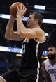 Apr 9, 2014; Orlando, FL, USA; Brooklyn Nets forward Mirza Teletovic (33) drives to the basket against the Orlando Magic during the first quarter at Amway Center. Mandatory Credit: Kim Klement-USA TODAY Sports