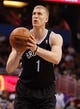 Apr 9, 2014; Orlando, FL, USA; Brooklyn Nets forward Mason Plumlee (1) shoots a free throw against the Orlando Magic during the second quarter at Amway Center. Mandatory Credit: Kim Klement-USA TODAY Sports
