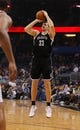 Apr 9, 2014; Orlando, FL, USA; Brooklyn Nets forward Mirza Teletovic (33) shoots against the Orlando Magic during the first quarter at Amway Center. Mandatory Credit: Kim Klement-USA TODAY Sports