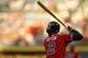 Apr 26, 2014; Atlanta, GA, USA; Atlanta Braves center fielder B.J. Upton (2) prepares for an at bat against the Cincinnati Reds in the first inning at Turner Field. Mandatory Credit: Brett Davis-USA TODAY Sports