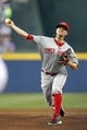 Apr 26, 2014; Atlanta, GA, USA; Cincinnati Reds starting pitcher Mike Leake (44) throws a pitch against the Atlanta Braves in the first inning at Turner Field. Mandatory Credit: Brett Davis-USA TODAY Sports