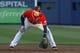 Apr 26, 2014; Atlanta, GA, USA; Atlanta Braves first baseman Freddie Freeman (5) prepares for a play against the Cincinnati Reds in the second inning at Turner Field. Mandatory Credit: Brett Davis-USA TODAY Sports
