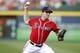 Apr 26, 2014; Atlanta, GA, USA; Atlanta Braves starting pitcher David Hale (57) throws a pitch against the Cincinnati Reds in the second inning at Turner Field. Mandatory Credit: Brett Davis-USA TODAY Sports