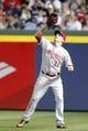 Apr 26, 2014; Atlanta, GA, USA; Cincinnati Reds right fielder Jay Bruce (32) catches a fly ball against the Atlanta Braves in the sixth inning at Turner Field. Mandatory Credit: Brett Davis-USA TODAY Sports