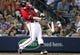 Apr 26, 2014; Atlanta, GA, USA; Atlanta Braves third baseman Chris Johnson (23) breaks his bat on a swing against the Cincinnati Reds in the sixth inning at Turner Field. Mandatory Credit: Brett Davis-USA TODAY Sports