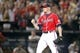Apr 26, 2014; Atlanta, GA, USA; Atlanta Braves relief pitcher Craig Kimbrel (46) reacts after a strikeout against the Cincinnati Reds in the ninth inning at Turner Field. The Braves defeated the Reds 4-1. Mandatory Credit: Brett Davis-USA TODAY Sports