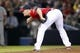 Apr 26, 2014; Atlanta, GA, USA; Atlanta Braves relief pitcher Craig Kimbrel (46) looks for a sign against the Cincinnati Reds in the ninth inning at Turner Field. The Braves defeated the Reds 4-1. Mandatory Credit: Brett Davis-USA TODAY Sports