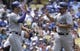 Apr 27, 2014; Los Angeles, CA, USA; Colorado Rockies starting pitcher Jorge De La Rosa (29) gets a high-five from Colorado Rockies third baseman Nolan Arenado (28) after scoring on Colorado Rockies right fielder Brandon Barnes' single in the second inning against the Los Angeles Dodgers at Dodger Stadium. Mandatory Credit: Robert Hanashiro-USA TODAY Sports