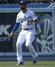 Apr 27, 2014; Los Angeles, CA, USA; Los Angeles Dodgers center fielder Matt Kemp (27) shows his frustration after an error in the 8th inning against the Colorado Rockies at Dodger Stadium. Mandatory Credit: Robert Hanashiro-USA TODAY Sports