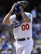 Apr 27, 2014; Los Angeles, CA, USA; Los Angeles Dodgers reliever Brian Wilson before throwing in the 8th inning against the Colorado Rockies at Dodger Stadium. Mandatory Credit: Robert Hanashiro-USA TODAY Sports
