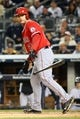 Apr 27, 2014; Bronx, NY, USA;  Los Angeles Angels catcher Chris Iannetta (17) draws a walk during the fourth inning against the New York Yankees at Yankee Stadium. Mandatory Credit: Anthony Gruppuso-USA TODAY Sports