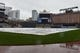 Apr 29, 2014; Baltimore, MD, USA;  A general view of the field covered due to the game between the Pittsburgh Pirates and Baltimore Orioles being canceled due to rain at Oriole Park at Camden Yards. Mandatory Credit: Tommy Gilligan-USA TODAY Sports