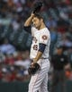 Apr 29, 2014; Houston, TX, USA; Houston Astros starting pitcher Jarred Cosart (48) reacts after a pitch during the third inning against the Washington Nationals at Minute Maid Park. Mandatory Credit: Troy Taormina-USA TODAY Sports
