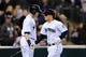 Apr 26, 2014; Seattle, WA, USA; Seattle Mariners first baseman Justin Smoak (17) and Seattle Mariners third baseman Kyle Seager (15) celebrate after Seager hit a solo home run against the Texas Rangers at Safeco Field. Texas defeated Seattle 6-3. Mandatory Credit: Steven Bisig-USA TODAY Sports