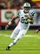Oct 7, 2013; Atlanta, GA, USA; New York Jets running back Mike Goodson (23) runs after a catch in the first quarter against the Atlanta Falcons at the Georgia Dome. Mandatory Credit: Daniel Shirey-USA TODAY Sports